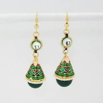 Meenakari Shanku Kundan Earring Green Black