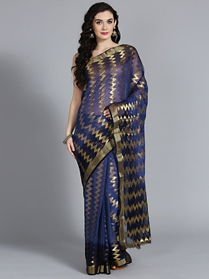 Dark blue printed faux georgette saree with blouse