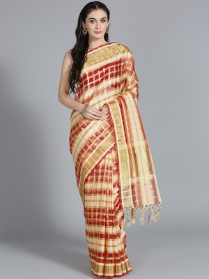 Red printed cotton poly saree with blouse
