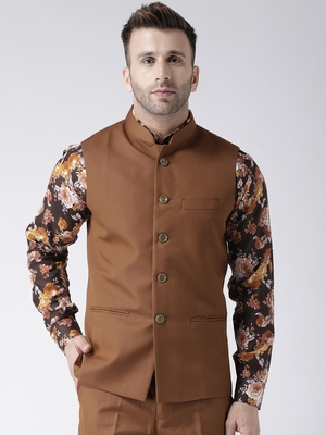 Brown Plain Polyester Nehru Jacket