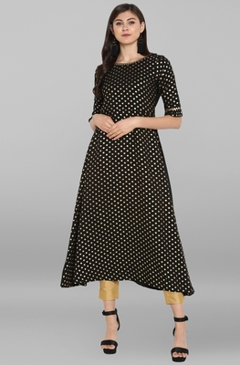 Black printed crepe kurta sets