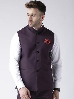 Purple Plain Polyester Nehru Jacket