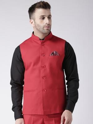 Red Plain Polyester Nehru Jacket