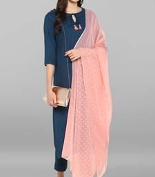 Turquoise plain rayon kurta sets