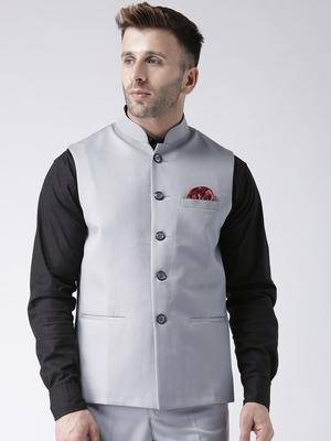 Grey Plain Polyester Nehru Jacket