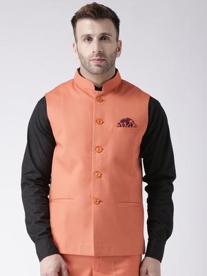 Orange Plain Polyester Nehru Jacket