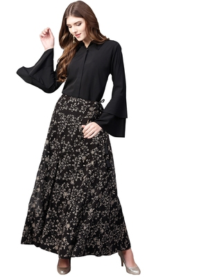 Black plain crepe kurta sets