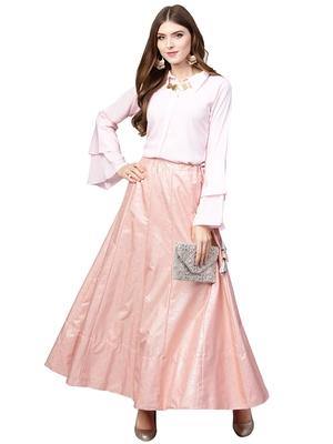 Pink plain crepe kurta sets