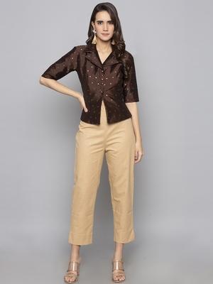 Beige woven taffeta readymade blouse