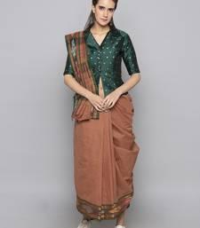 Green woven taffeta readymade blouse