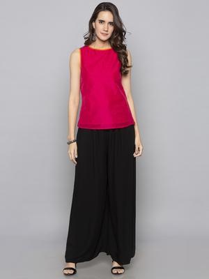 Fuchsia woven taffeta readymade blouse