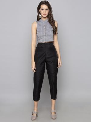 Grey woven cotton readymade blouse