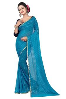 8646eac9f75888 Teal woven chiffon saree with blouse. Shop Now