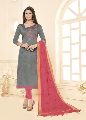 Grey beads cotton salwar with dupatta