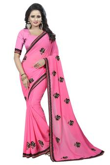 adabea4a8778b Pink embroidered georgette saree with blouse