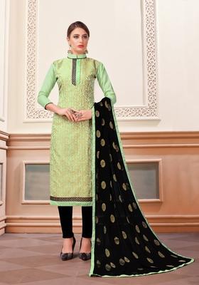 Green woven banarasi silk salwar with dupatta