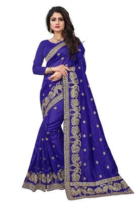 Dark blue embroidered art silk sarees saree with blouse