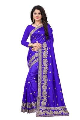 Royal blue embroidered art silk sarees saree with blouse
