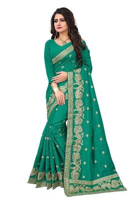 Green embroidered art silk sarees saree with blouse