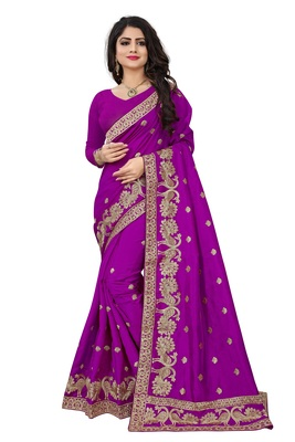 Wine embroidered art silk sarees saree with blouse