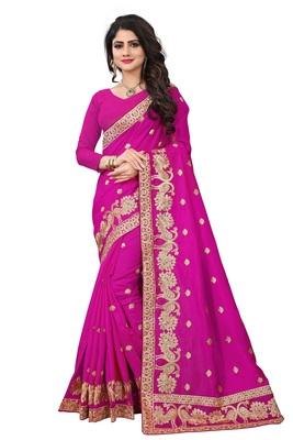 Pink embroidered art silk sarees saree with blouse