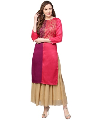 Multicolor printed polyester kurti