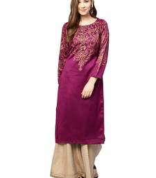 Purple printed polyester kurti