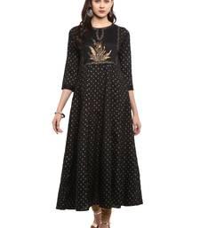 Black printed polyester kurti