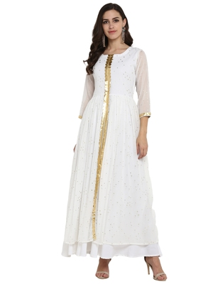 White printed chiffon kurti