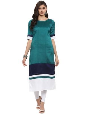 Multicolor plain polyester kurti