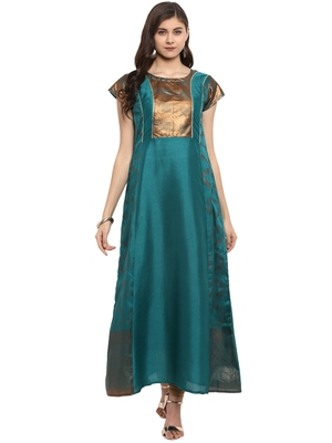 Sea-green printed polyester kurti