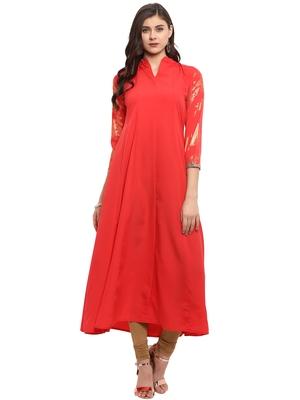 Red printed crepe kurti