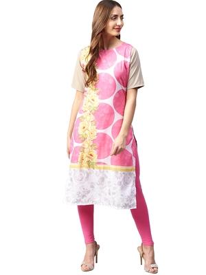 Pink printed crepe kurti