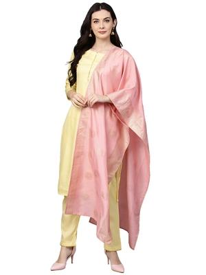 Yellow plain polyester kurta sets