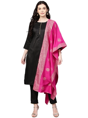 Black plain polyester kurta sets