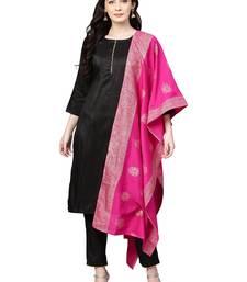Black plain polyester kurta sets