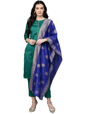Sea-green plain polyester kurta sets