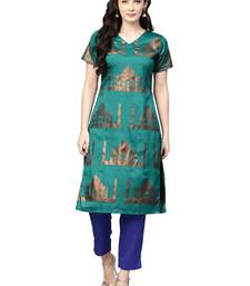 Sea-green printed polyester kurta sets