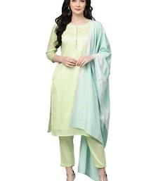 Green plain polyester kurta sets