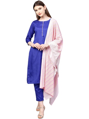Blue plain polyester kurta sets