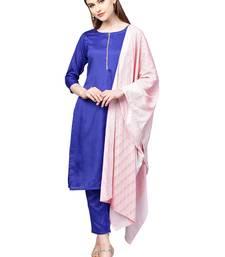 Blue plain polyester kurta sets
