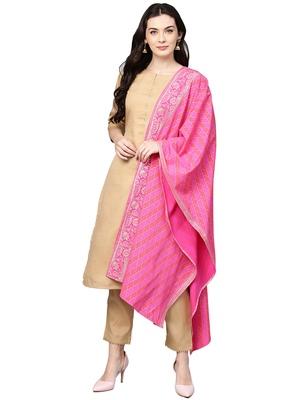 Beige plain polyester kurta sets