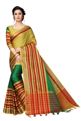 Yellow printed polycotton saree with blouse