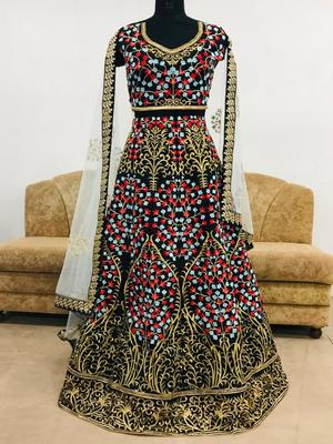 Black embroidered silk semi stitched lehenga with dupatta