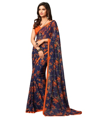 Navy blue printed chiffon saree with blouse