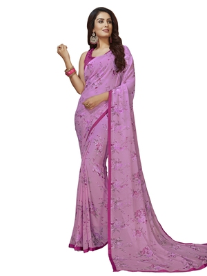 Violet printed chiffon saree with blouse