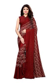 83e80dcb74f185 Maroon printed georgette saree with blouse