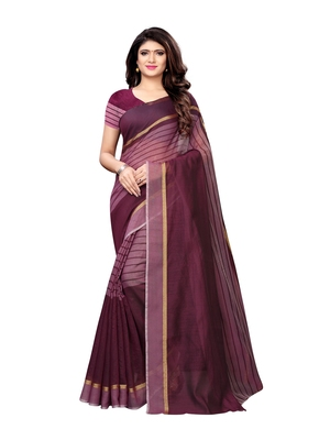 Purple Woven Cotton Silk Saree With Blouse