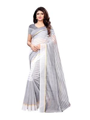 Off white woven cotton silk saree with blouse