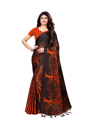Orange printed shimmer saree with blouse
